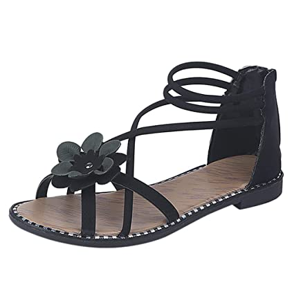 d2f1551593fa Women Bohemian Sandals Leather Floral Peep Toe Flat Sandals Casual Ankle  Strap Sandals with Back Zipper