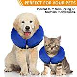 WeHome Protective Inflatable Pet Collar, Dog Recovery Cone After Surgery-Soft Adjustable Comfortable, Does Not Block Vision Pet E-Collar for Dogs and Cats- Medium