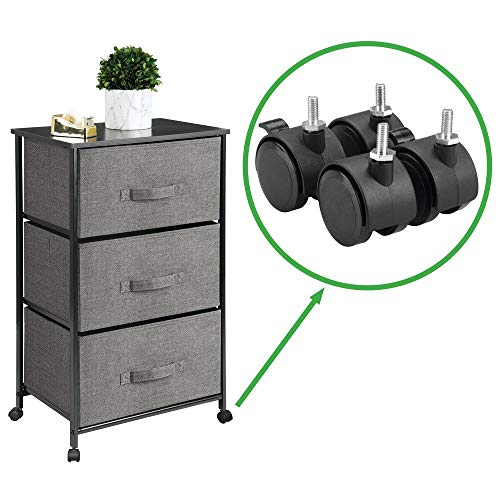 mDesign Vertical Rolling Dresser Storage Tower - Mobile Organizer for Bedroom, Hallway, Entryway, Closets - Metal Frame, Wood Top, Locking Wheels - 3 Fabric Drawers, Textured - Charcoal Gray/Black ()