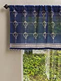 Pacific Blue (CP) ~ Rustic Navy Ocean Asian Window Valance 46×17