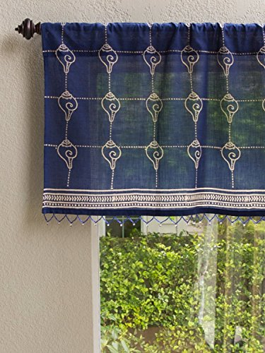 Pacific Blue (CP) ~ Rustic Navy Ocean Asian Window Valance 46x17