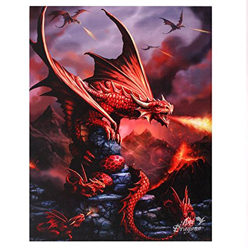 Anne Stokes Canvas Plaque 'Age of Dragons' Fantasy Wall Art Range (Fire - Dragon Fantasy Art