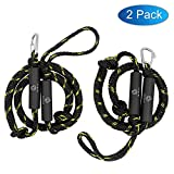 Obcursco PWC Bungee Dock Line Stretchable for Kayak, Boat, Marine, Sets of Two(4ft & 6ft) with Foam Float Perfect for PWC, Jet Ski, SeaDoo, Yamaha WaveRunner, Kayak, Pontoon (Black/Yellow)