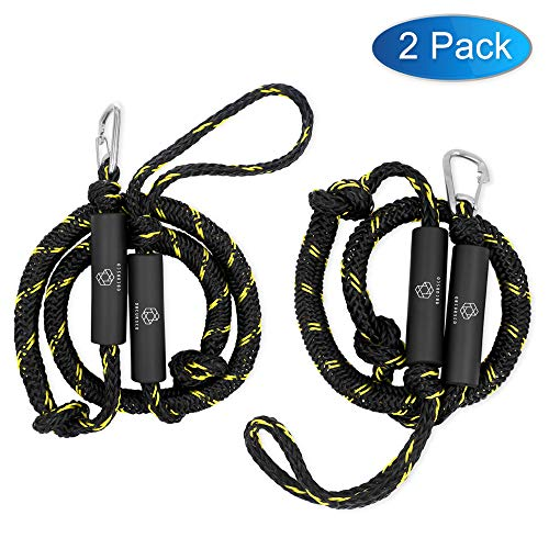 (Obcursco PWC Bungee Dock Line Stretchable for Kayak, Boat, Marine, Sets of Two(4ft & 6ft) with Foam Float Perfect for PWC, Jet Ski, SeaDoo, Yamaha WaveRunner, Kayak, Pontoon (Black/Yellow) )