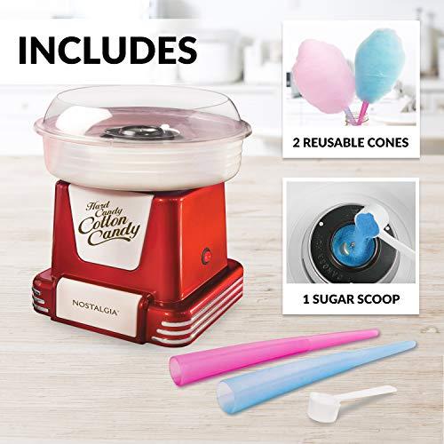 Nostalgia PCM805RETRORED Retro Hard & Sugar Free Cotton Candy Maker, Red