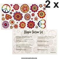 Adhesivo de Hippie Flower Power paz piel tatuajes de tarjeta – 29 ...