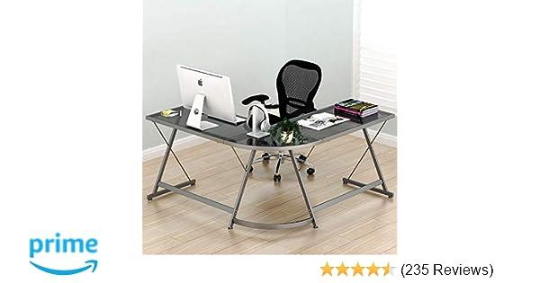 brand new 45b9e 7b9fd SHW Vista Corner L-Shaped Steel & Glass Desk $64.91 + FS ...