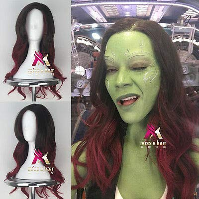 FidgetGear Guardians of The Galaxy 2 Gamora Long Wavy Movie Anime Cosplay Halloween Wig ()