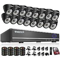 TMEZON 16CH DVR Home Surveillance Camera System 16 Dome Indoor/Outdoor 800TVL CCTV Security Cameras 2TB HDD