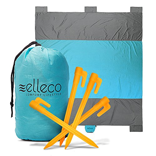 Outdoor Mat Largest by Ell Eco, Beach Blanket with 6 Pockets of Ultra Strong Parachute Nylon, Durable Waterproof Sand proof Picnic, Camping, Travel, Hiking, Compact Large Lightweight 1.10lb