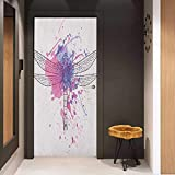 Onefzc Photo Wall Decal Dragonfly Grunge Street Art Watercolor Moth Bug in Pink Rainbow Tones Artwork for Home Decor W23 x H70 Black White and Purple