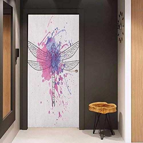 Onefzc Self-Adhesive Wall Murals Dragonfly Grunge Street Art Watercolor Moth Bug in Pink Rainbow Tones Artwork Sticker Removable Door Decal W17.1 x H78.7 Black White and Purple