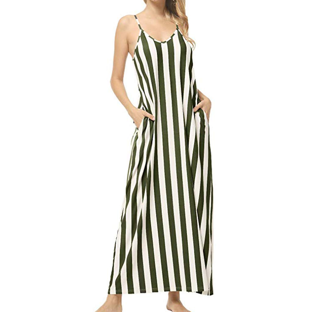 Giulot Womens Chic Spaghetti Strap Loose Fit Maxi Dress Classic Striped Vacation Holiday Beach Sundress with Pockets