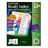 Avery Consumer Products Products - Table Of Contents Dividers, 12-Tab, 3/PK, Multi - Sold as 1 PK - Eco-friendly index dividers are made with 100 percent recycled paper. Use coordinated system of reinforced table of contents page and matching preprinted t