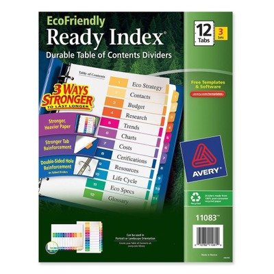 Avery Consumer Products Products - Table Of Contents Dividers, 12-Tab, 3/PK, Multi - Sold as 1 PK - Eco-friendly index dividers are made with 100 percent recycled paper. Use coordinated system of reinforced table of contents page and matching preprinted t by Avery