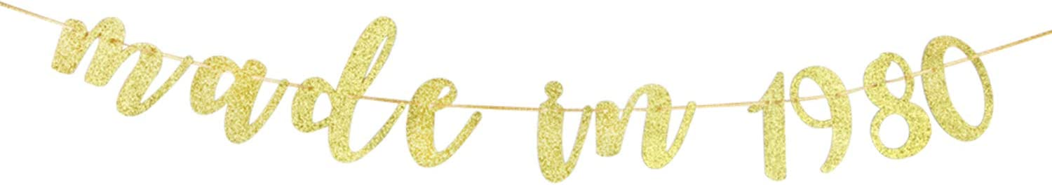 40 Bitches 40th Anniversary Party Decoration Supplies Gold Glitter Made in 1980 Banner for 40th Birthday Banner