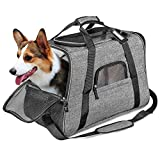 CleeBourg Pet Carrier Bag Airline Approved Dog Cat Travel Carrier Bags Lightweight Collapsible Animal Carrier Bag Mesh – L