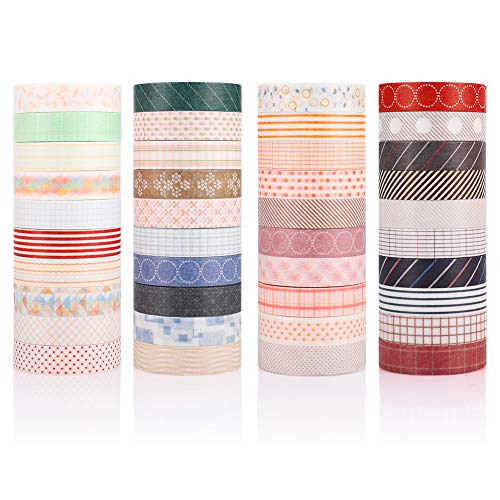 Accmor 40 Rolls Washi Tape Set, Decorative Washi Masking Tape for Scrapbooking, Bullet Journals, Planners, Gift Wrapping,DIY Decor and Craft Supplies