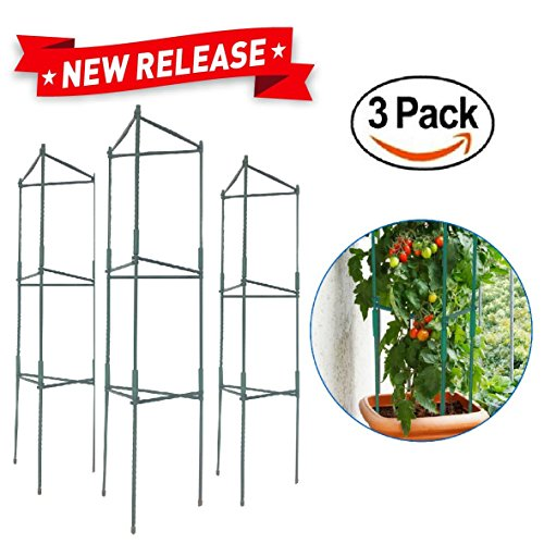 EasyGO Products EGP-GARD-020 Tomato Cages 5-Foot Stakes-Vegetable Trellis-3 Pack Plant (Plastic Trellis)