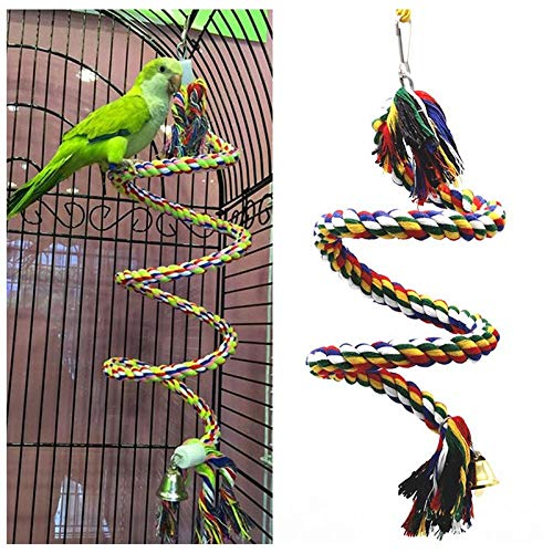 (CSK Bird Rope Perches,Comfy Perch Parrot Toys Rope Bungee Bird Toy 40 Inch)