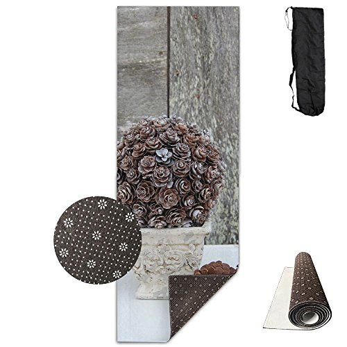 (BINGZHAO Pinecone Topiary Exercise Yoga Mat For Pilates,Gym,Fitness, Travel & Hiking)