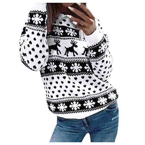 [해외]Women Ugly Christmas Sweater Vintage Reindeer Snowflakes Cute Xmas Knit Sweater Pullover Funny Long Sleeve Blouse / Women Ugly Christmas Sweater Vintage Reindeer Snowflakes Cute Xmas Knit Sweater Pullover Funny Long Sleeve Blouse