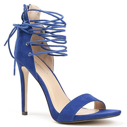 Ideal Shoes, Damen Sandalen Blau