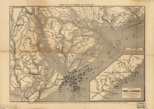 1860s Civil War map Port Royal Sound South Carolina Carte de Port Royal et des e (Furniture Patio Sc Charleston Outdoor)