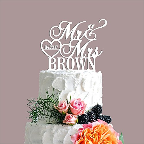 P Lab Personalized Cake Topper Mr. Mrs. Last Name Custom Dat