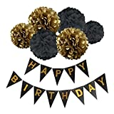 Happy Birthday Banner Bunting Kit, Wartoon Paper Pom Poms flowers Ball with Hanging Party Decorations Banner flags for Birthday Party Decorations - Black