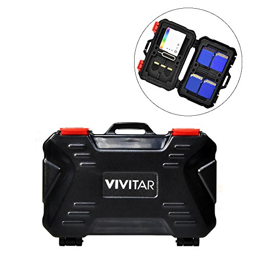 Vivitar Memory Card Hard Protector Case - Holds 4 CF, 8 SD &