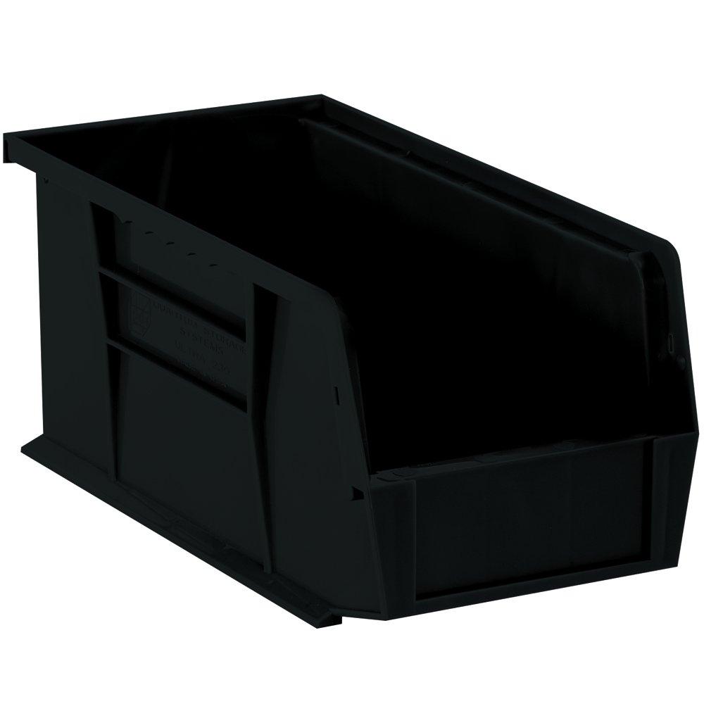 Aviditi BINP1155K Plastic Stack and Hang Bin Boxes, 10 7/8'' x 5 1/2'' x 5'', Black (Pack of 6)