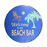 DL-Vintage signs for garage Welcome to our beach bar Round painting Rustic Hotel Cafe bar decor