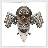 Cotton Microfiber Hand Towel,Industrial,Stylized Collage with Owl Figure Cog Hardware Gear Machinery Animal Print Decorative,Grey White Brown,for Kids, Teens, and Adults,One Side Printing