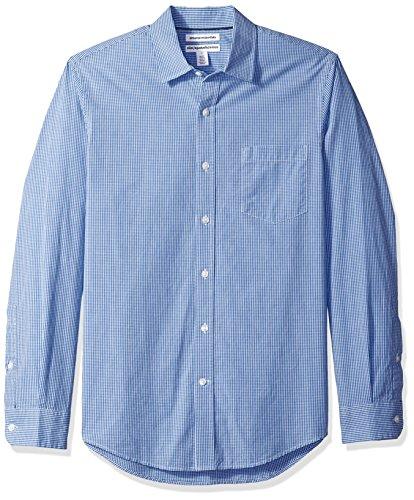 Amazon Essentials Men's Slim-Fit Long-Sleeve Casual Poplin Shirt, Blue Mini-Gingham, Medium
