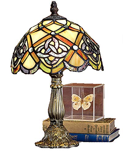 (Tiffany Lamp Irish Celtic Lamp 8 Inch Tiffany-Style Art Glass Desk Lamp Table Light St Patrick's Day Decoration, Irish Gift in-Law Gift, Irish Family Table Lamp)