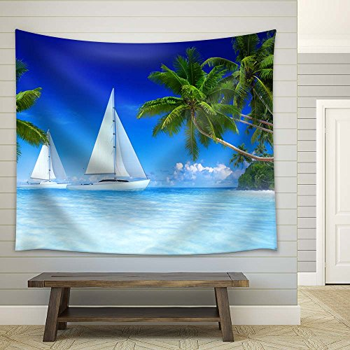 Sailing Boat on Tropical Sea with Palm Trees