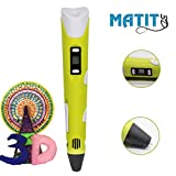 Matit 3D Pen, Professional Drawing Printing Pen for Kids & Adults, 1.75mm PLA 3D Printing Pen, Doodler Drawing, Modern Arts & Crafts Tool, with Filaments (yellow)