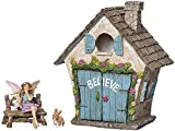 Joykick Fairy Garden House Kit – Hand Painted with Opening Doors and Miniature Fairy Figurine With Accessories – Indoor Outdoor Set of 4 pcs for Home or Lawn Decor For Sale