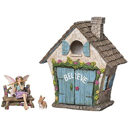 Joykick Fairy Garden House Kit - Hand Painted with Opening Doors and Miniature Fairy Figurine with Accessories - Indoor Outdoor Set of 4 pcs for Home or Lawn Decor for cheap