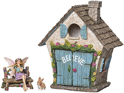 House Kit - Hand Painted with Opening Doors and Miniature Fairy Figurine With Accessories - Indoor Outdoor Set of 4 pcs for Home or Lawn Decor (Painted Village)