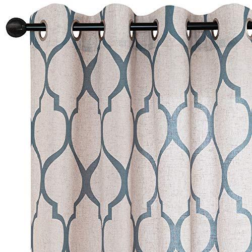 jinchan Moroccan Tile Linen Textured Curtains Printed Curtain Panels Bedroom Living Room Lattice Window Treatment 2 Panel Drapes 45