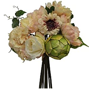 "13"" Peony Hydrangea Artichoke Bouquet Silk Wedding Flowers Centerpiece Decor 73"