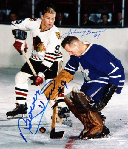 Bower Stops Hull Autographed 8X10 - Toronto Maple Leafs - Chicago Blackhawks Autograph Authentic