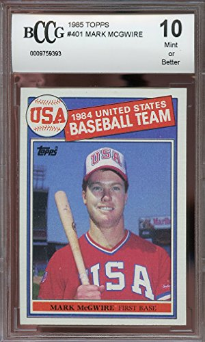 Mark Mcgwire Card - 1985 topps #401 MARK MCGWIRE oakland athletics USA rookie card BGS BCCG 10 Graded Card