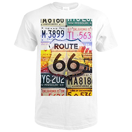 Collectable License Plate (Route 66 License Plates - Highway Road (Premium White T-Shirt XX-Large))
