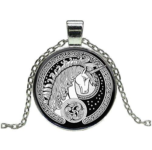 Orejas De Cuerno De Unicornio Plata+Colgante, Collar De Blanco Y Negro Luna Azul Unicornio de plata