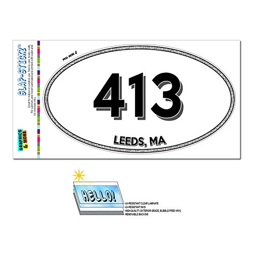 Graphics and More Area Code Oval Window Laminated Sticker 413 Massachusetts MA Adams - Mill River - - River Leeds