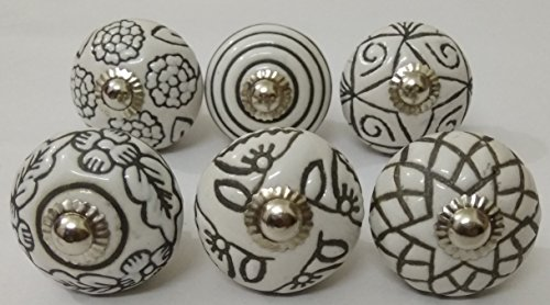 Hand Carved Ceramic - 6 Vintage Look Ceramic Knobs Zoya's Hand Carved Ceramic Knobs Handmade Ceramic Door Knobs Kitchen Cabinet Drawer Pulls Kid's Badroom Knobs by Zoya's Lots of 6 Knobs (White)
