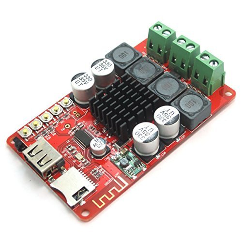 TOOGOO(R) TPA3116 2X50W Bluetooth Digital Power Amplifier Board with Remote Control, Support FM Radio / TF Card / USB Recording Play 8~26V DC for Headphones HIFI Amplifier iphone Home Theater by TOOGOO(R)